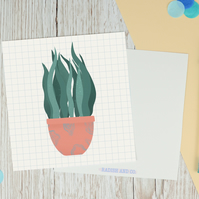 Houseplant Square Illustration Postcard