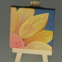Tiny floral acrylic painting called 'Little Flower 1' by Nicola Crook