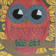 Nursery Art - Owl - original painting - 'Aaron'