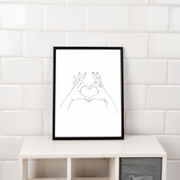 Love heart Hands Print