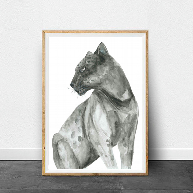 Black Leopard Watercolour Print, Black Jaguar Print