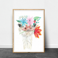 Watercolour ostrich print, Ostrich Picking flowers print