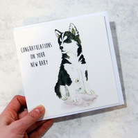 Husky Puppy New Baby Card