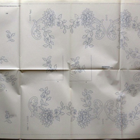 A large embroidery transfer depicting dahlia garlands suitable for a tablecloth
