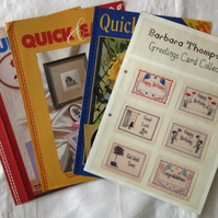 4 leaflets each containing 6 cross stitch charts for greetings cards etc