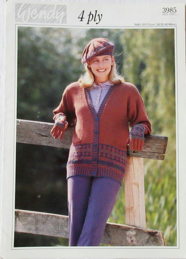 A knitting pattern for a lady's cardigan, beret and gloves in 4 ply yarn (Wendy)