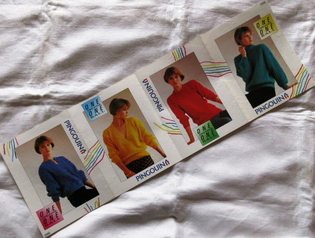A knitting pattern for 3 women's sweaters and a cardigan in Pingouin Douce yarn