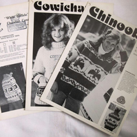 Three vintage Canadian knitting patterns for sweaters and zipped jackets