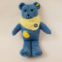 Teddy bear, Hand knitted blue bear, Nursery room decor, Kids bedroom decoration