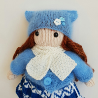 Knitted doll in a blue cat hat, Interior doll, Girls room decor, Collection doll