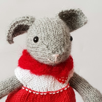 Nursery room decor, Kids bedroom decoration, Hand knitted mouse in a red dress