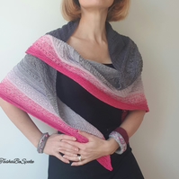 Hand knitted triangle shawl Cotton pink and grey wrap Fashion accessories