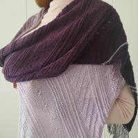 SALE Hand knitted purple cotton scarf with fringes Christmas gift for women
