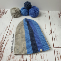 SALE Hand knitted hat Winter slouchy hat Chunky beanie Unisex hat Blue grey hat