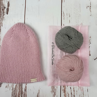 SALE Hand knitted hat in pink Winter woolly hat Ribbed pointy hat Women clothes