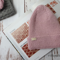 Hand knitted hat in pink Winter hat Ribbed fashion pointy beanie Women clothes