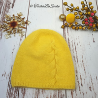 SALE Hand knitted hat Yellow beanie Girls hat Women slouchy hat Gift for her