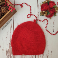 SALE Hand knitted hat Women slouchy hat Red beanie Gift for her