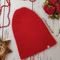 SALE Knitted hat Women fashion hat Red pointy hat Merino knit hat Gift for her