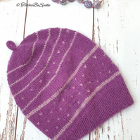 Hand knitted hat Women slouchy hat Purple beanie hat Fashion hat Gift for women