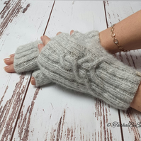 Women hand knitted wool mittens Handmade fingerless mittens Gift for her