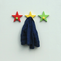 Trio of Star Coat Hooks  - pick your colours