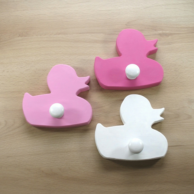 Trio of Duckling Coat Hooks - pick your colours