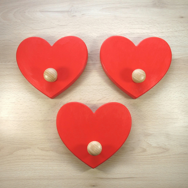 Trio of Heart Coat Hooks  - pick your colours