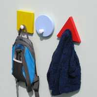 Circle, Square and Triangle Coat Hooks  - pick your colours