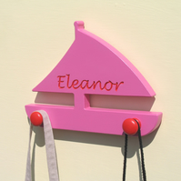 Boat Coat Hook - pick your colours - add an engraving
