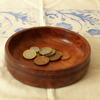 Simple and elegant, a hand turned Red Gum coin or key dish