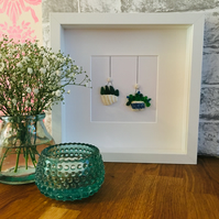 Sea glass framed artwork: hanging plants