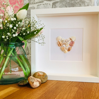 Shell framed artwork: broken shell heart