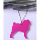 Cute pink acrylic pug necklace