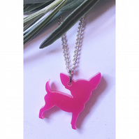 Super cute pink acrylic chihuahua necklace