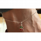 Kitsch sterling silver enamelled cherries anklet