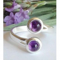 Modernist sterling silver and amethyst gemstone ring