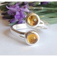 Modernist sterling silver and citrine swirl ring