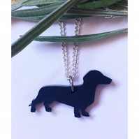 Sweet black acrylic dachshund necklace