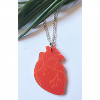 Fabulous red acrylic anatomical heart necklace