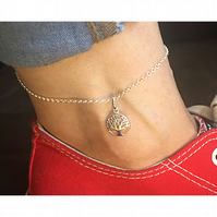 Beautiful sterling silver tree of life anklet