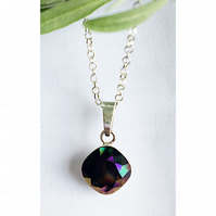 Beautiful sterling silver & Swarovski elements rainbow dark crystal necklace