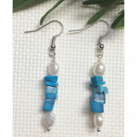 Pretty sterling silver, turquoise and freshwater pearl earrings