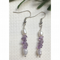Pretty sterling silver, amethyst and freshwater pearl earrings