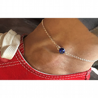 Gorgeous sterling silver and Swarovski Elements birthstone crystal anklets