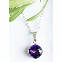 Beautiful sterling silver & Amethyst purple Swarovski Elements Crystal necklace