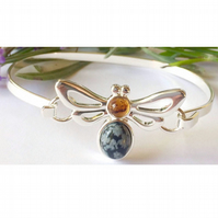 Beautiful amber and snowflake osbidian gemstone bee bangle