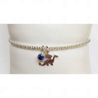 Quirky sterling silver birthstone dragon bracelet