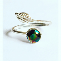 Stunning sterling silver and Swarovski Elements rainbow dark crystal leaf ring