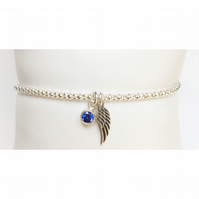 Beautiful sterling silver angel wing birthstone bracelet
